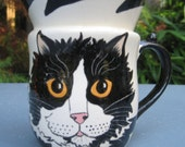 Tuxedo Cat Cup-Custom made just for you by Nina Lyman