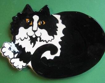 CAT SPOON REST - or soap dish , trinket holder or tea bag holder- long hair