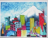 Portland Oregon cityscape notecards blank 6 pack PDX