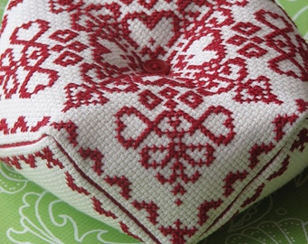Cross Stitch Biscornu Pattern: Ruby Charm (Immediate Downloadable PDF)