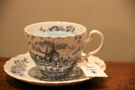 Dutch Windmill TeaCup Candle-Medium sized- Clean Cotton scented