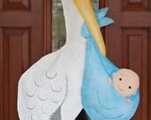 It's a Boy Stork Burlap Door Hanger