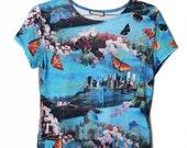 90s Grunge Crazy Butterfly Pattern Short Shirt