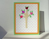 tree of hearts colorful anniversary or engagement handmade card