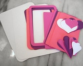 children's pink and purple valentine hearts diy card making kit  - makes ten cards