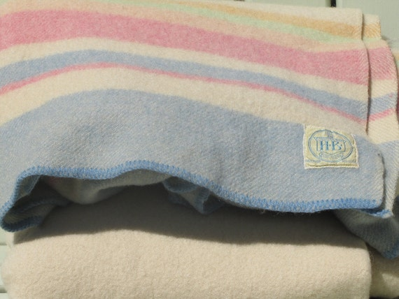Horn Brothers Blanket, Pastel Striped Wool Blanket, Wool Blanket, Striped Wool Blanket