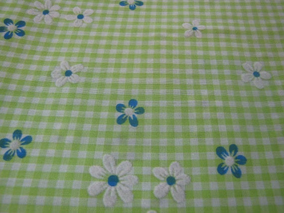 Vintage Green Gingham Fabric with Flocked Flowers, 60s 70s Fabric