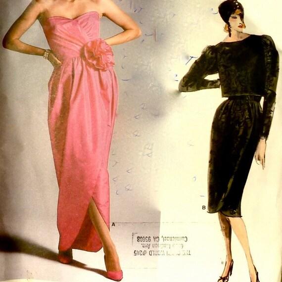 80s Vintage Vogue Sewing Pattern - Designer Evening Gown / Mock Wrap Dress - Bust 30-1/2