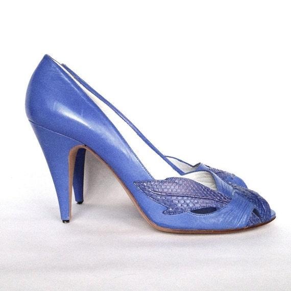 Vintage 80s Nina Stilettos // Periwinkle - Lavender Leather Peep Toe Heels - Size 38 / 7