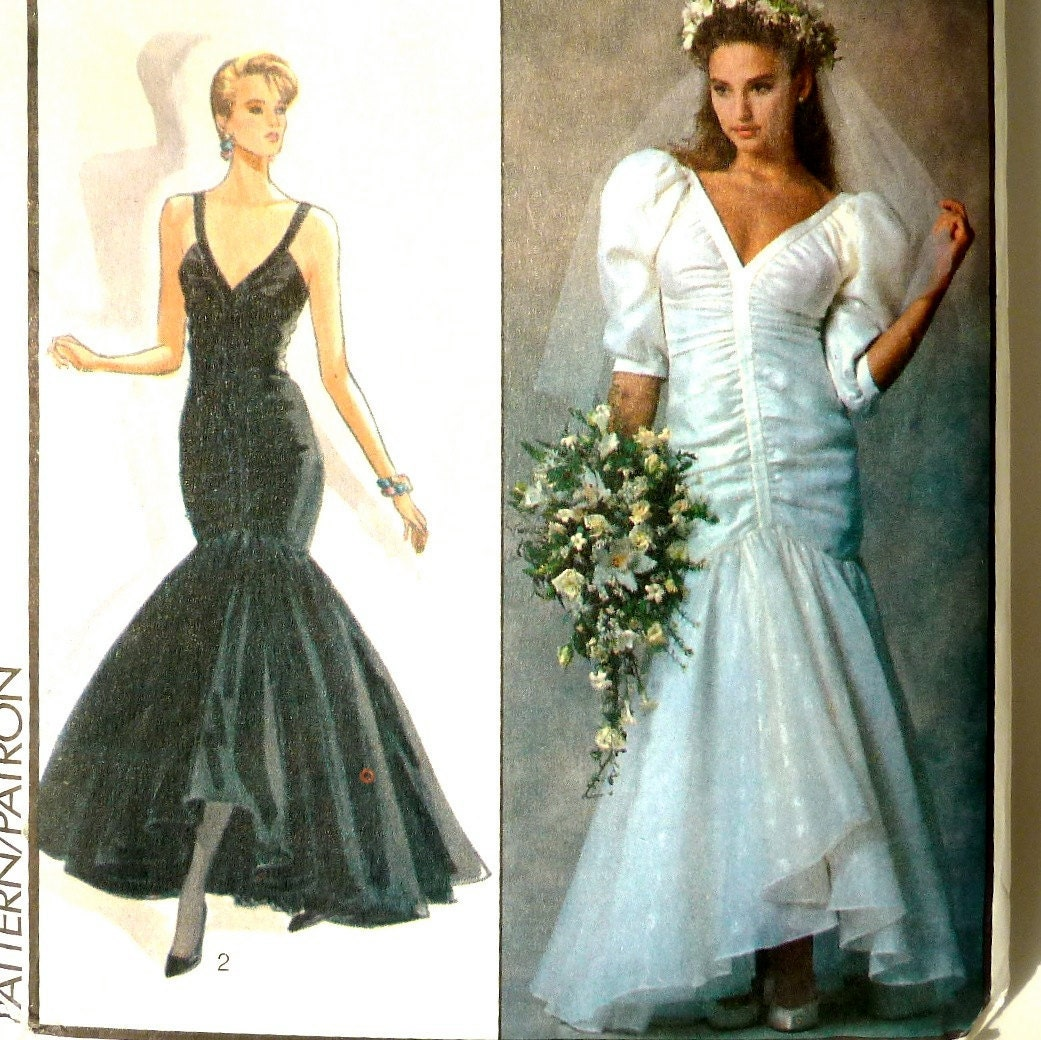 Vintage Wedding Dresses 80s: Vintage Designer Sewing Pattern 80s Wedding Dress / Evening