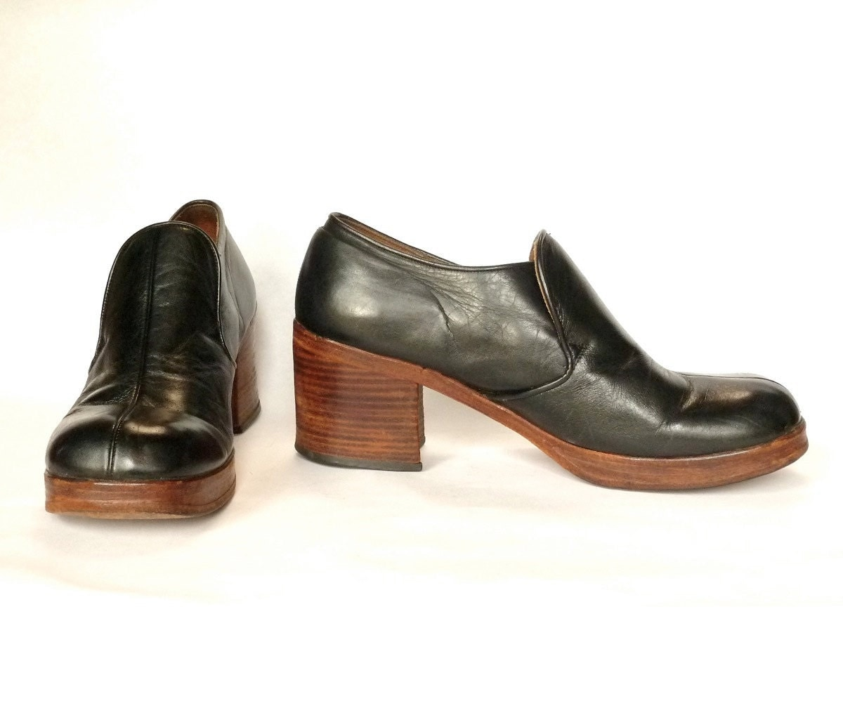 70s black leather stacked wood platform shoes by