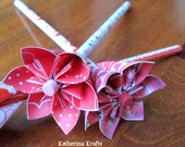 Breast Cancer Awareness Pink Ribbon Origami Flower Pencil or Pen Favors / Bouquet