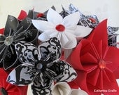 Wedding Bouquet - Black White Red Damask Origami Flowers