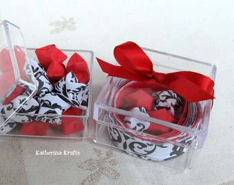 Stocking Stuffers, Wedding Favors - Origami Lucky Stars Kraft Kit in Black and White Damask and Red