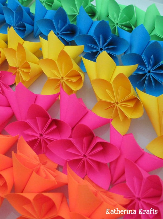 Origami Flowers, Kusudama Paper Flowers, set of 50