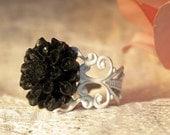 Black Dahlia Ring - Black Dahlia Flower on a White Adjustable Filigree Ring