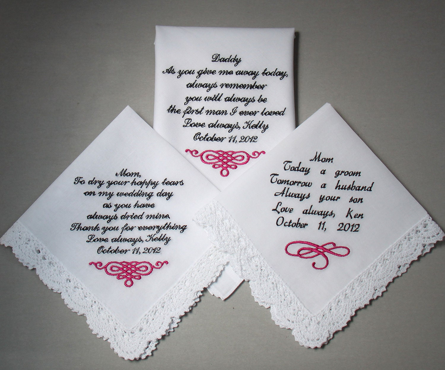 Items Similar To Embroidered Wedding Handkerchiefs Set Of There Personalized
