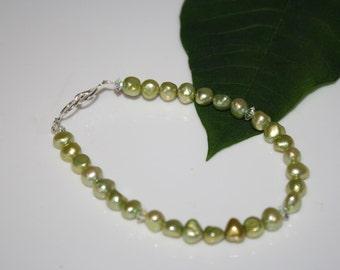 Spring Time, Lime Green Fresh Water Pearl Bracelet