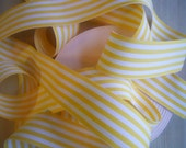 "2 Yards Yellow and White Striped Grosgrain Ribbon 1 1/2"" Wide Heavy Ribbon"