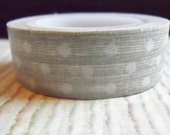 White Polka Dots with Distressed Gray Background Washi Tape Full Roll 15mm X 10m