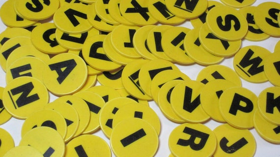 75 Yellow Plastic Letters Game Pieces