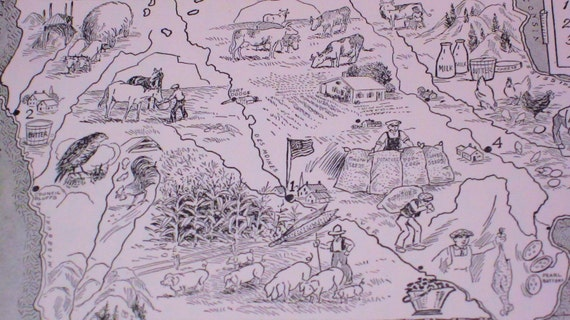 Iowa State Illustrated Picture Map Book Page - Great for Framing