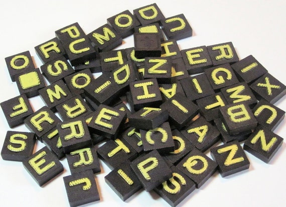 65 Scrabble Black and Yellow Letter Game Board Letters from Vintage Gameboards