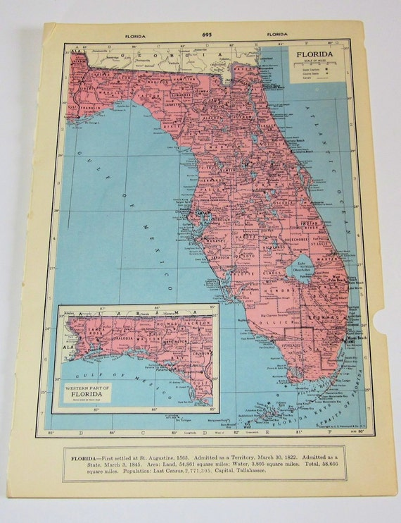 Florida and Georgia State Maps by Hammond Great for Framing