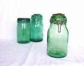 Reserved for Laura, Farmhouse French antique green glass jar, French country kitchen, mason jar, rustic kitchen, shabby chic