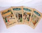 1938 French ephemera Childrens magazines, set of 4, French advertising, girls room decor, nursery art, embroidery sewing eco friendly