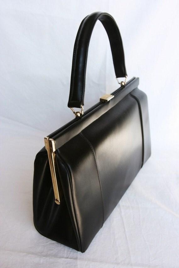 1950s Vintage French handbag, Mad Men black purse, Paris fashion, shabby chic