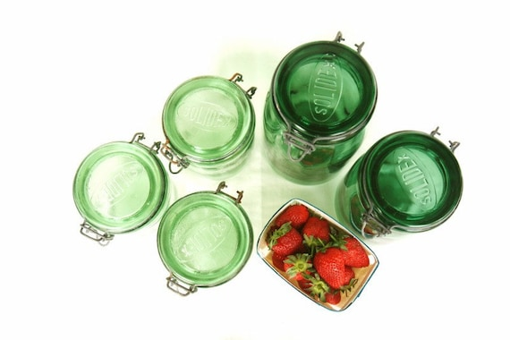 French farmhouse mason jar, vintage green glass 1 litre canning jar SOLIDEX French kitchen eco friendly simple living, slow food