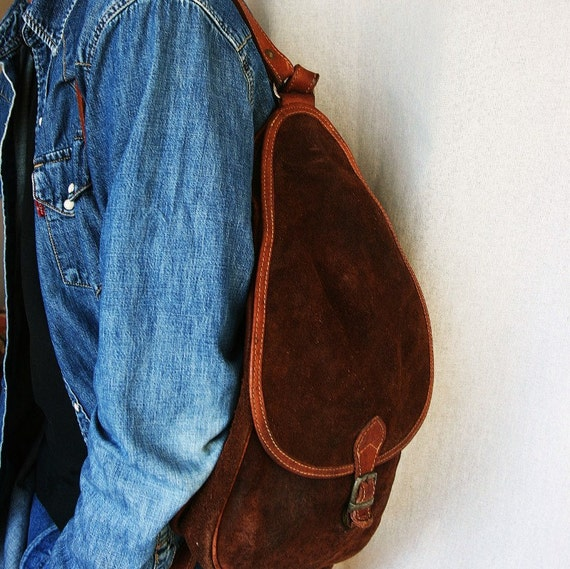 French vintage leather backpack, brown leather suede, gift for him or gift for her, Fathers Day, Mothers Day