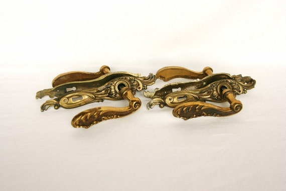 French country decor door hardware solid brass, French antiques shabby chic, French home, 2 sets