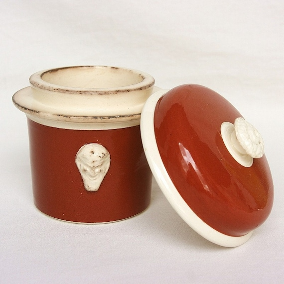 Red French country kitchen, French pottery, French pot for terrine or fois gras, shabby chic, the art of French cooking