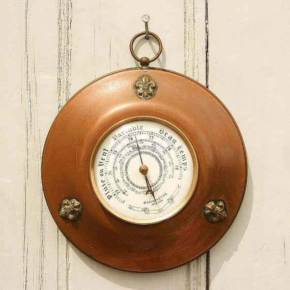 French country garden art, farmhouse barometer, fleur de lys, copper shabby chic French decor, French vintage