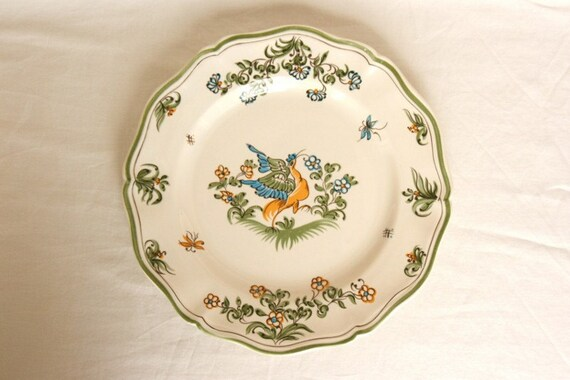 French provincial plate, hand made pottery bird & butterfly, Moustiers dinner plate, French kitchen, vintage French pottery, French country