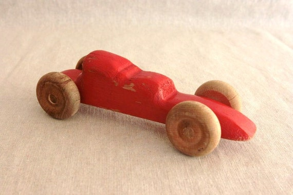French vintage red wooden toy car, red race car, rustic kids decor, childrens bedroom, nursery decor, baby boy nursery, gift for him, French