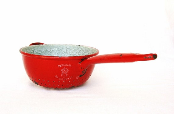 Red kitchen farmhouse vintage French enamelware, antique enamel colander, French country kitchen, rustic kitchen, red enamelware