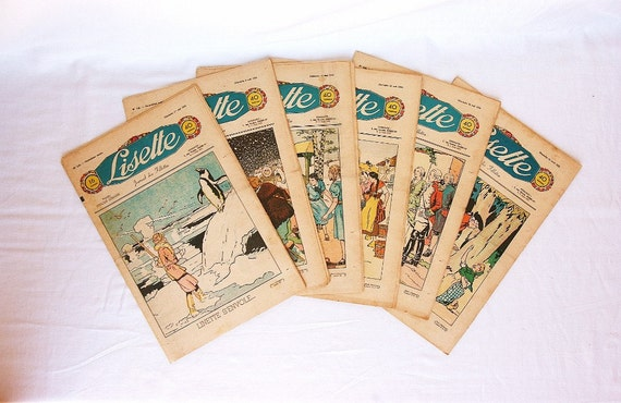 1938 French Childrens magazines, set of 6, French advertisements, girls room decor, nursery art, girl illustration, embroidery pattern