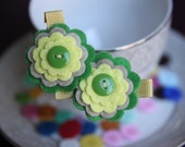 2 Piece Felt Green Yellow and Ivory Flower Hair Clips Set