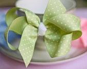 Green Polka Dots Hair Bow Hair Clips Kids Hair Bow Girls Hair Bow Toddler Hair Bow Baby Hair Bow Baby Hair Bow