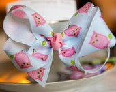 Single Pink and Blue Owl Hair Bow Kids Hair Bow Girls Hair Bow Toddler Hair Bow Baby Hair Bow