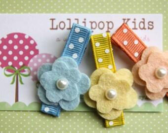 Toddler Hair Clip Girls Hair Clip Infant Hair Clip Children Hair Accessory Peach Blue Yellow Wool Felt Flower Hair Clip Hair Bow