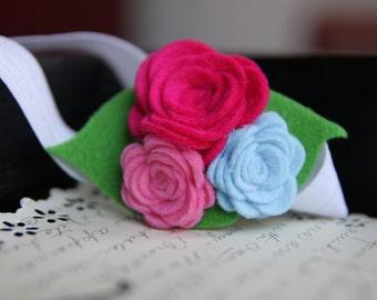Dark Pink, Pink, Blue Wool Blend Felt Rose Flower  Headband  Infants Toddlers