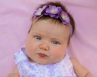Toddler Headband Newborn Headband Infant Headband Baby Headband Lavender Headband Purple Flower Headband