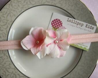 Baby Headband Infant Headband Toddler Headband Pink and White Flower Headband Pink Headband