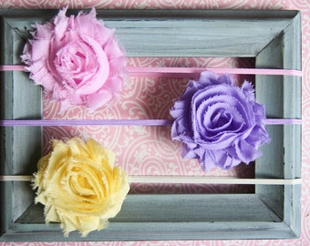 Newborn Headband Baby Headband Toddler Headband Infant Headband Shabby Flower Headband Pink Lavender Yellow Shabby Flower Headband