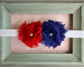 Newborn Headband Infant Headband Toddler Headband Baby Headband Blue Red and White Shabby Flower Patriotic Headband