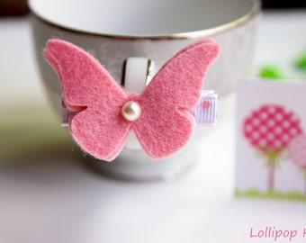 Baby Hair Clips Girls Hair Clip Kids Hair Clips Toddler Hair Clips Butterfly Hair Clips Infant Hair Clips Pink Wool Felt Butterfly Hair Clip